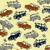 M Makower Transport - 3451 - Racing Minis on Yellow Check - 6802 Y20 - Cotton Fabric